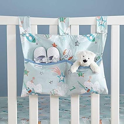 HANGING STORAGE 6 POCKETS Cuddle Bear Blue COT TIDY ORGANISER BED NURSERY