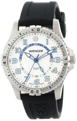 Wenger Men's 77070 Squadron GMT White Dial Rubber Strap Watch