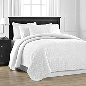 Prewashed Durable Comfy Bedding Jigsaw Quilted 3-piece Bedspread Coverlet Set (King/Cali King, White)