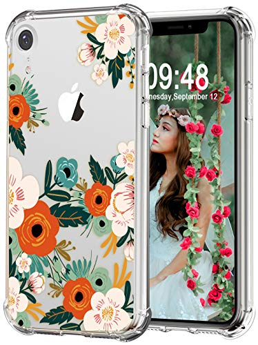 Flower Iphone Design - Audimi Clear Case for iPhone XR Flower Pattern Back Cover with Design Soft Flexible TPU Shockproof Bumper Floral Transparent Cases