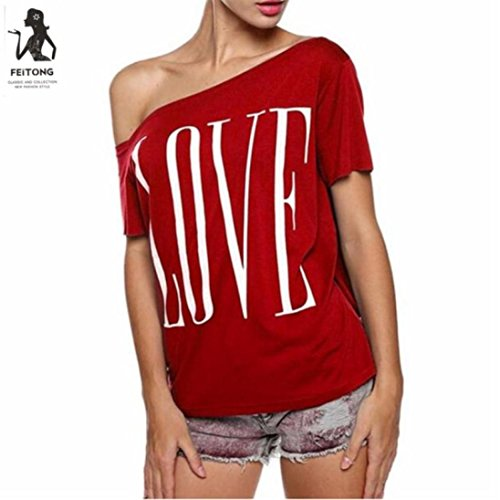 Summer Tops,AIMTOPPY Women Love letters Off Shoulder Short Sleeve Loose Blouse Casual Tops T-Shirt (L, - Polo Ralph Email Lauren