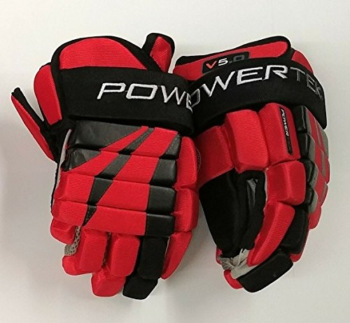 PowerTek V5.0 Tek Youth Ice Hockey Gloves, Flexible Full Motion Cuff (Red/Black, 8')