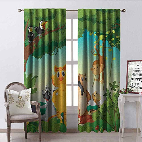 Gloria Johnson Zoo Blackout Curtain Forest Scene with Different Animals Habitat Jungle Tropical Environment Kids Cartoon 2 Panel Sets W52 x L84 Inch Multicolor