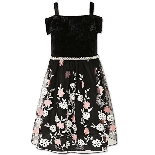 (Speechless Girls' Big Velvet Flutter Frt Emborided Floral BTM Dress, Black Blush)