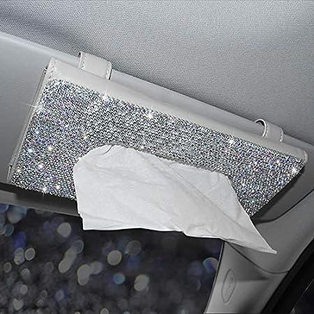 Bling Crystal Auto Tissue Box Sonnenblende Diamant Leder Auto Seidenpapier Inhaber Fall Sonnenblende Hängende Serviette Autozubehör Beige Bling Tissue Box Auto
