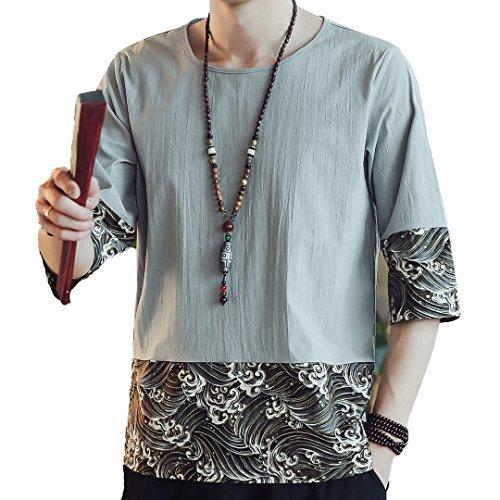 通常論争レクリエーション[XINXIKEJI] 和柄 メンズ tシャツ ティーしゃつ メンズ 半袖 ティシャツ メンズ 綿麻リネン おしゃれ プリントTシャツ トップス インナー ボーイズ 男の子 Tシャツ カジュアル シャツ ゴルフウェア 上着 通勤 通学 運動 日常用 M-5XL