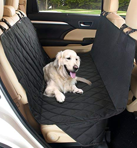 - Pet Dog Car Seat Cover ~ Quilted Protector for Back Seats Engineered for Large Dogs, Two Sizes Fit Most Cars, Trucks & SUVs, Extra Strong with Adjustable Straps & Flaps, Medium Black