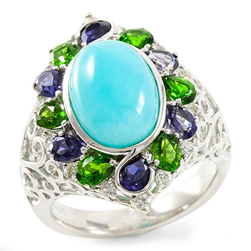 Glamouresq Sterling Silver 13mm Oval Shape Natural Amazonite, Iolite, Diopside & White Sapphire Women's Ring, Size (Designer Diopside Ring)