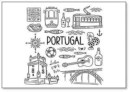 Imán para nevera con diseño de símbolos e iconos de Portugal ...