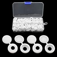 JaneYi (100 Pieces) White Screw Cap Plastic Hinged Screw Cover Caps Snap-on Screw Head Covers Replacement Self-tapping…