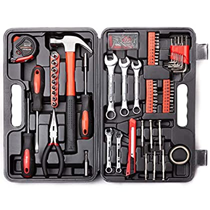 Cartman 148-Piece Tool Set – General Household Hand Tool Kit with Plastic Toolbox Storage Case, Socket & Socket Wrench…