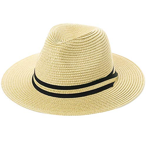 (Womens Mens Straw Fedora Brim Panama Beach Crushable Packable Havana Summer Sun Hat Party Floppy Ladies Beige Ivory)