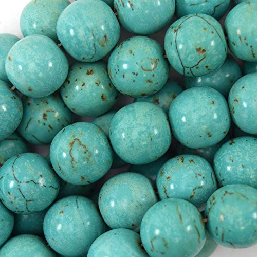 14mm Green Turquoise Round beads 16'' Strand