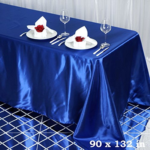 (BalsaCircle 90x132 inch Royal Blue Satin Rectangle Tablecloth Table Cover Linens Wedding Table Cloth Party Reception Events Kitchen)