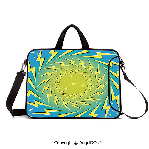 (AngelDOU Portable Ultrabook Soft Sleeve Laptop Bag Case Cover Rotating Lightning Bolts Motion Illusion Sparks Retro Pop Art Print Decorative Compatible with MacBook Asus Acer HP Blue Yellow White)