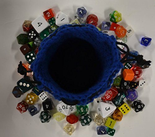 Knitted Dragonhide Dice Bag of Holding - Blue and Black by Crystal's Idyll