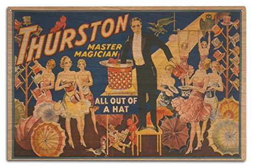 Thurston, Master Magician Out of a Hat Magic - Vintage Theater Advertisement (10x15 Wood Wall Sign, Wall Decor Ready to Hang) (Thurston Hanging)