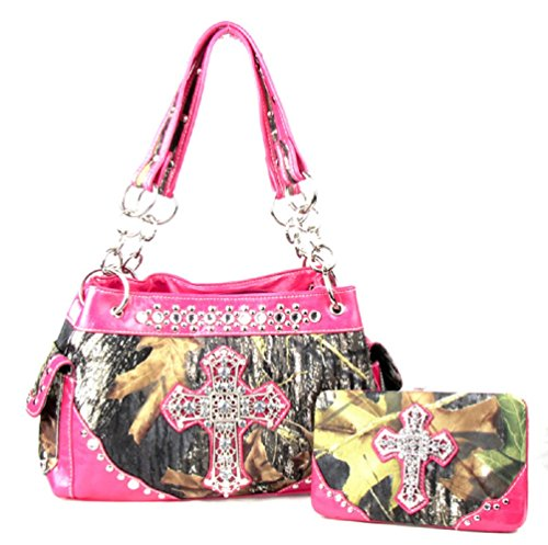 - Western Handbag Camouflage Cross Camo Rhinestone Purse With Matching Wallet (PINK)