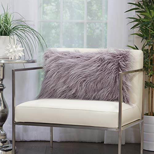 Nourison Fur Faux Tibetan Lamb Lavender Lumbar Throw Pillow 14