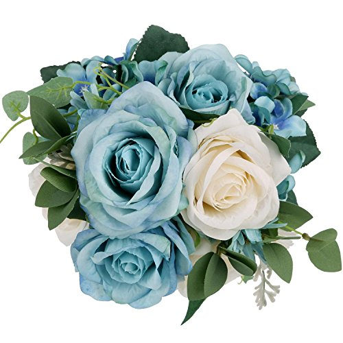 Lifelike Silk Rose Light Blue SOLEDI 11 Heads Artificial Flowers for Bridal Bouquet Wedding Living Room Table Home Garden (Sunny Day Rose Bouquet)