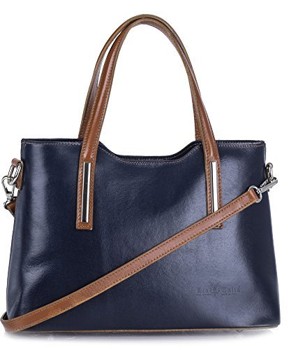 Top Trim Leather With Tan Strap Genuine In Shoulder Handbag Italian Long Handle navy Satchel Liatalia Nelly FwxPqRZ5n