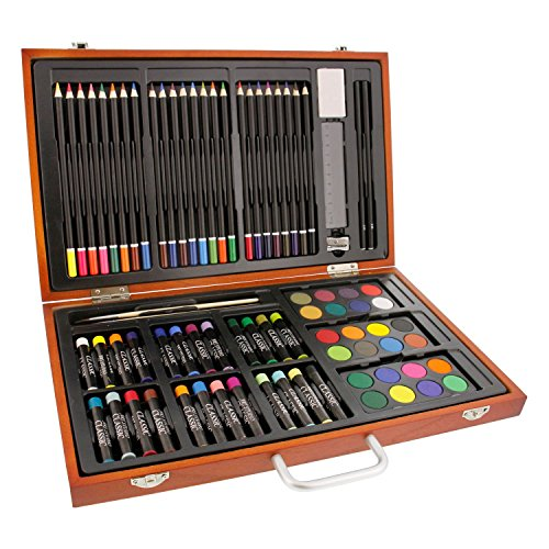 US Art Supply 82 Piece Deluxe Artist Studio Creative Wood Box Set by US Art Supply