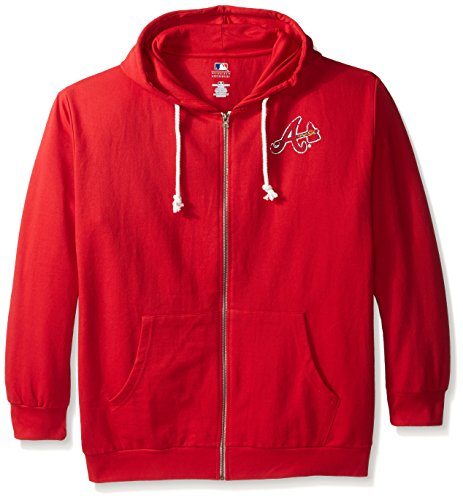 MLB Atlanta Braves Plus Size Zip Hood with Logo, 3X, Red by Profile Big & Tall