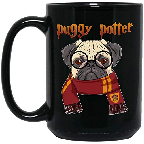 Puggy Potter magic wizard Pug Dog Lover 15 oz. Black Mug]()