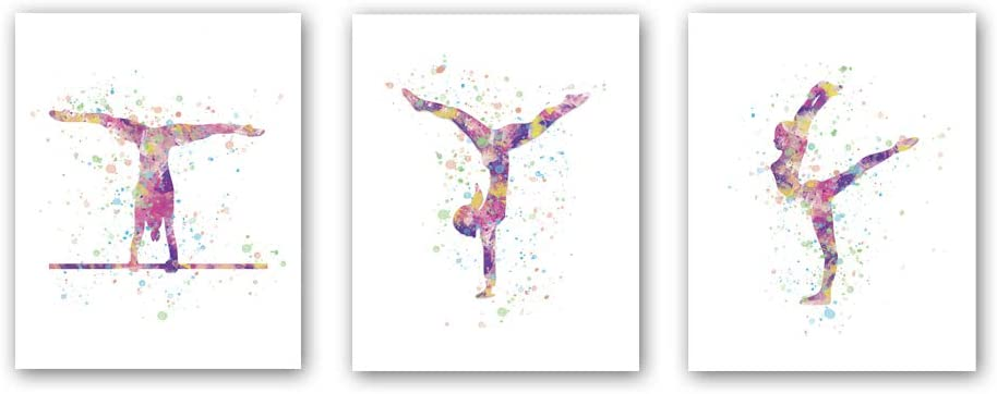 "Unframed Abstract Girl Gymnastics Wall Art Print,Sporting Silhouette Poster,Set of 3(8"" x10"" )Canvas Exercise Gyming Beam Posters For Girls Gymnasts Bedroom Nursery Decor"