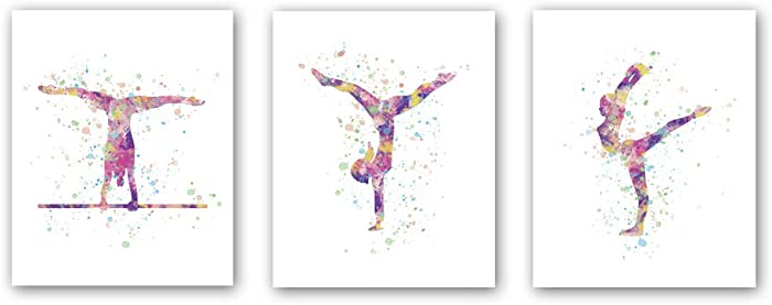 """Unframed Abstract Girl Gymnastics Wall Art Print,Sporting Silhouette Poster,Set of 3(8"""" x10"""" )Canvas Exercise Gyming Beam Posters For Girls Gymnasts Bedroom Nursery Decor"""