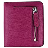 Women's RFID Blocking Small Genuine Leather Wallet Ladies Mini Card Case Purse (Purple)