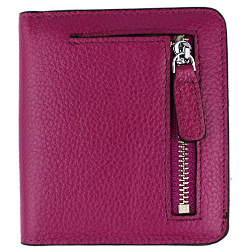Women's RFID Blocking Small Genuine Leather Wallet Ladies Mini Card Case Purse (Purple)
