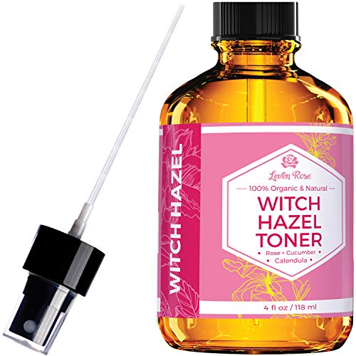 Rose Hip Seed Glycerine Oil - Witch Hazel Toner by Leven Rose, 100% Pure Organic Facial Rose Water with Rose Petals, Calendula, Cucumber, and Chamomile Flower 4 oz