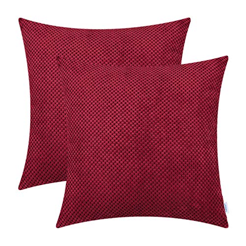 CaliTime Pack of 2 Comfy Throw Pillow Covers Cases for Couch Sofa Bed Comfortable Soft Solid Corduroy Pineapple Trellis Both Sides 18 X 18 Inches Dark Red (Sale Red For Pillows Couch)