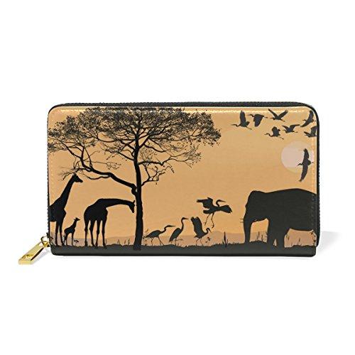 Savana Bag - GIOVANIOR Savana Giraffes Herons And Elephant Womens Clutch Purses Organizer And Handbags Zip Around Wallet