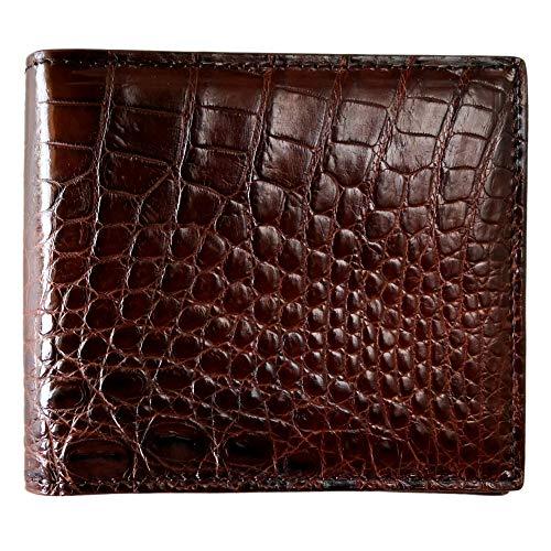 Men's Genuine Crocodile Belly Skin Bifold Wallet Alligator Leather Billfold(Brown) by CHERRY -