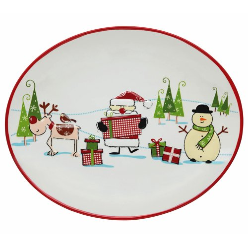 Christmas Platter Plates.Kitchen Craft Santa Friends Christmas Ceramic Glazed Oval Serving Platter Dish Plate Tray With Christmas Design Party Tableware 31cm X 25cm