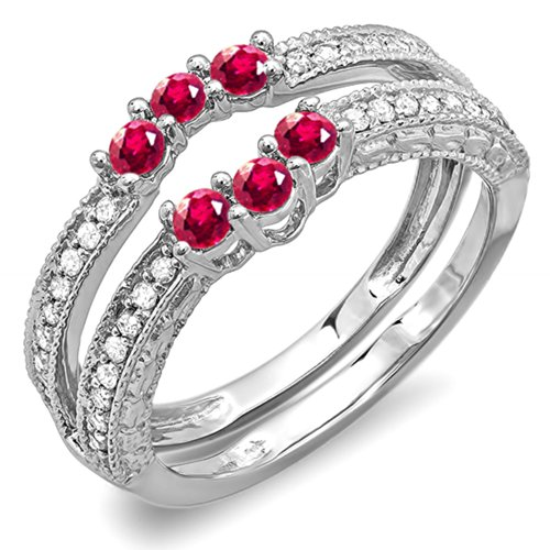 DazzlingRock Collection 14K White Gold Round Ruby And White Diamond Ladies Wedding Band Enhancer Guard (Size 7) - Ruby Bridal Ring Guard