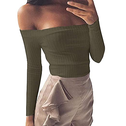 3bdd143db1757 Image Unavailable. Image not available for. Color  Gobought Womens Slim Off  Shoulder Long Sleeve Rib-Knit Crop Pullover Tops