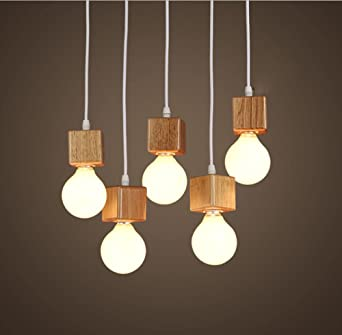 GBLY Pendelleuchte Holz Pendellampe Wohnzimmer Hngeleuchte E27 Hngelampe Esstischlampe Holzlampe 5 Stcke