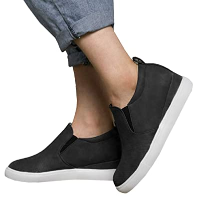 d9051f37ded2 LAICIGO Women s Platform Sneakers Hidden Wedges Side Zipper Faux Suede  Perforated Ankle Booties