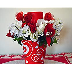 Valentine Day Decor, Floral Arrangement LED Candle, Table Decoration, Valentines Gift, Roses, Valentine Pail, Red Pail, Ready to Ship!