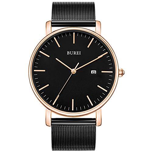 BUREI Men's Watch Ultra Thin Women Quartz Analog Wristwatch Date Calendar Dial and Brown Leather Band