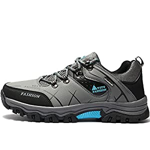 VILOCY Men's Hiking Boots Trekking Shoes Low Top Waterproof Antiskid Cushioning Boots Outdoor Sneaker Grey,44