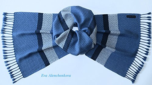 Men's Blue Cashmere Silk Merino Wool Handwoven Scarf by Eva Alenchenkova