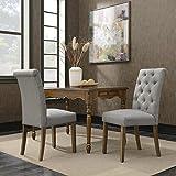 Belleze 2pc Dining Chair Modern Tufted Parson Chairs Linen High-Backrest Cushion Seat Wooden Leg, Gray