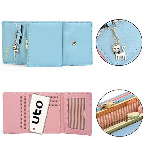 "UTO Mujer largo Wallet PU Cuero Clutch 5.5"" Phone Case 12 Tarjeta Slots Holder Cremallera Pocket Cartera Baby Blue Bebe Azul_"