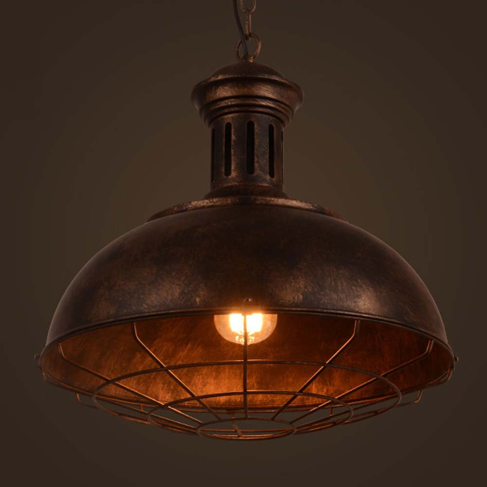 Neo-Industrial Nautical Barn Cage Pendant Light - LITFAD 16'' Single Pendant Lamp with Rustic Dome/Bowl Shape Mounted Fixture Ceiling Light Chandelier in Copper