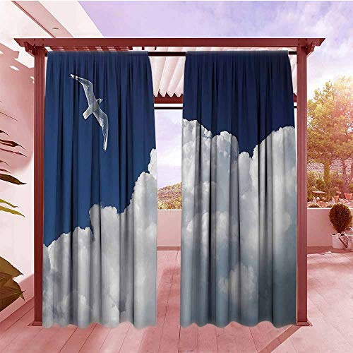 Forecast Blush - Curtains Rod Pocket Two Panels Seagulls Decor Collection Cloudy Sky and Flying Seagull Sunny Forecast Meteorology Cloudscape Image Print Energy Efficient, Darkening W84x84L Navy Blue White