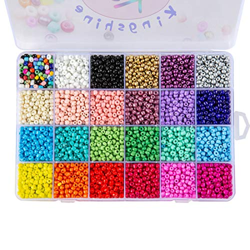 Multicolor Beading Glass Seed Beads - Tube Beads 24 Colors 4mm Pony Bead Round Spacer Mini Beads, Approx 7200pcs with Container Box for Jewelry ()